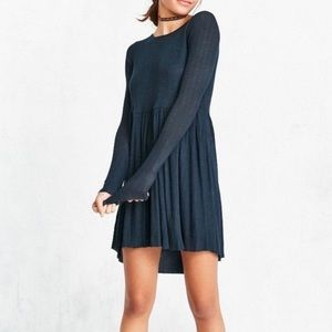 Nwt Urban Outfitters Navy Babydoll Sweater Dress